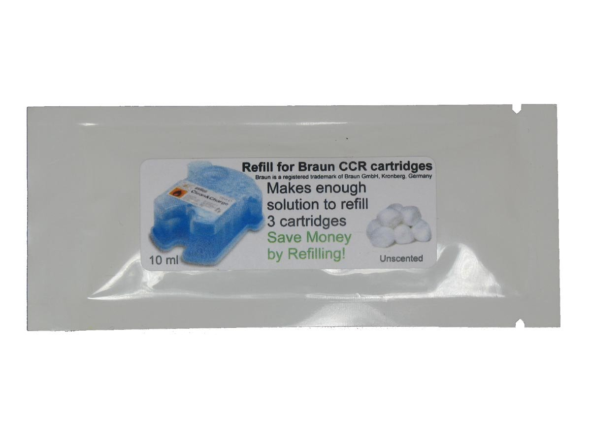 Refill Solution for Braun® Clean & Renew® CCR3 Shaver Cartridges (Unscented, 1 Packets (3 refills)) CCRRefills