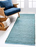 Unique Loom Metallic Braided Jute Collection Over-Dyed Hand Woven Natural Fibers Turquoise Runner Rug (2' 6 x 6' 0)