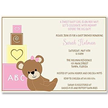 Amazon Com Baby Shower Invitations Teddy Bear Baby Girl Girls