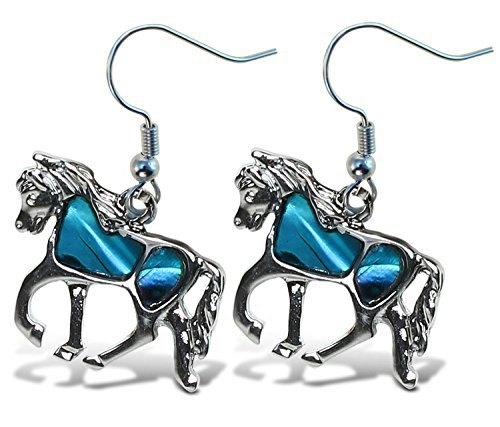 Puzzled Blue & Silver Horse Dangle Post Fish Hook Drop Earrings, 1.35 Inch Fashionable Sparkling Elegant Jewelry with Genuine New Zealand Paua Shell Farm Animals Themed Fashion Ear Accessory (2 Pcs)