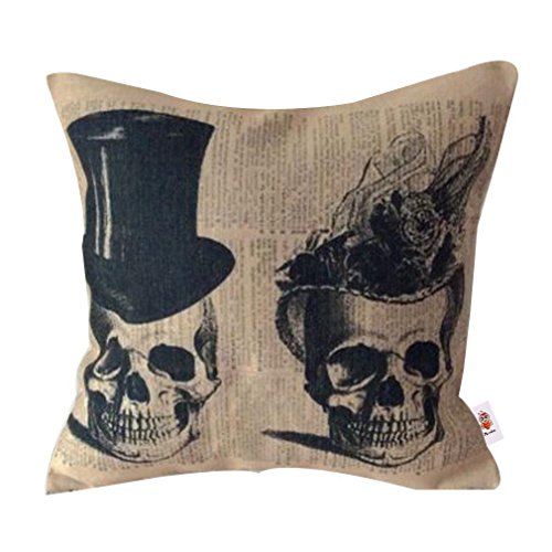 Nunubee Cotton Linen Home Decorative Throw Pillow Case Printed Cushion Cover for Sofa Bed Car Two Skulls