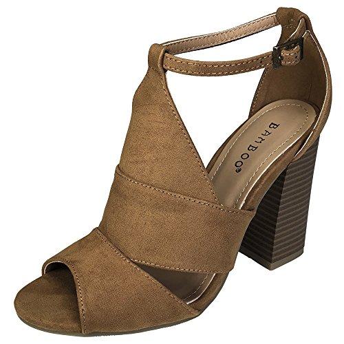 BAMBOO Women's Peep Toe Chunky Heel Sandal, Cognac Faux Suede, 10.0 B (M) US