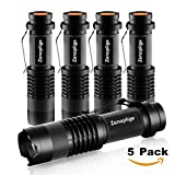 Led Torch Tactical Flashlight, Fenvella Pocket Torch 300 Lumen Adjustable Focus Brightness Water Resistant Portable Zoomable Light for Hiking Camping Daily (5 Pack)