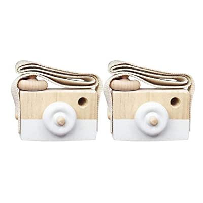 Toyvian 2Pcs Simulation Camera Toy Small Wooden Camera for Kids Outdoor Photo Props for Kids (White): Toys & Games