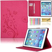 iPad 6 Case, iPad Air 2 Case, Dteck(TM) PU Leather Magnetic Case with [Card Slot/Money Holder] Full Body Protective Folio Flip Case Cover for Apple iPad Air 2/iPad 6th--ROSE