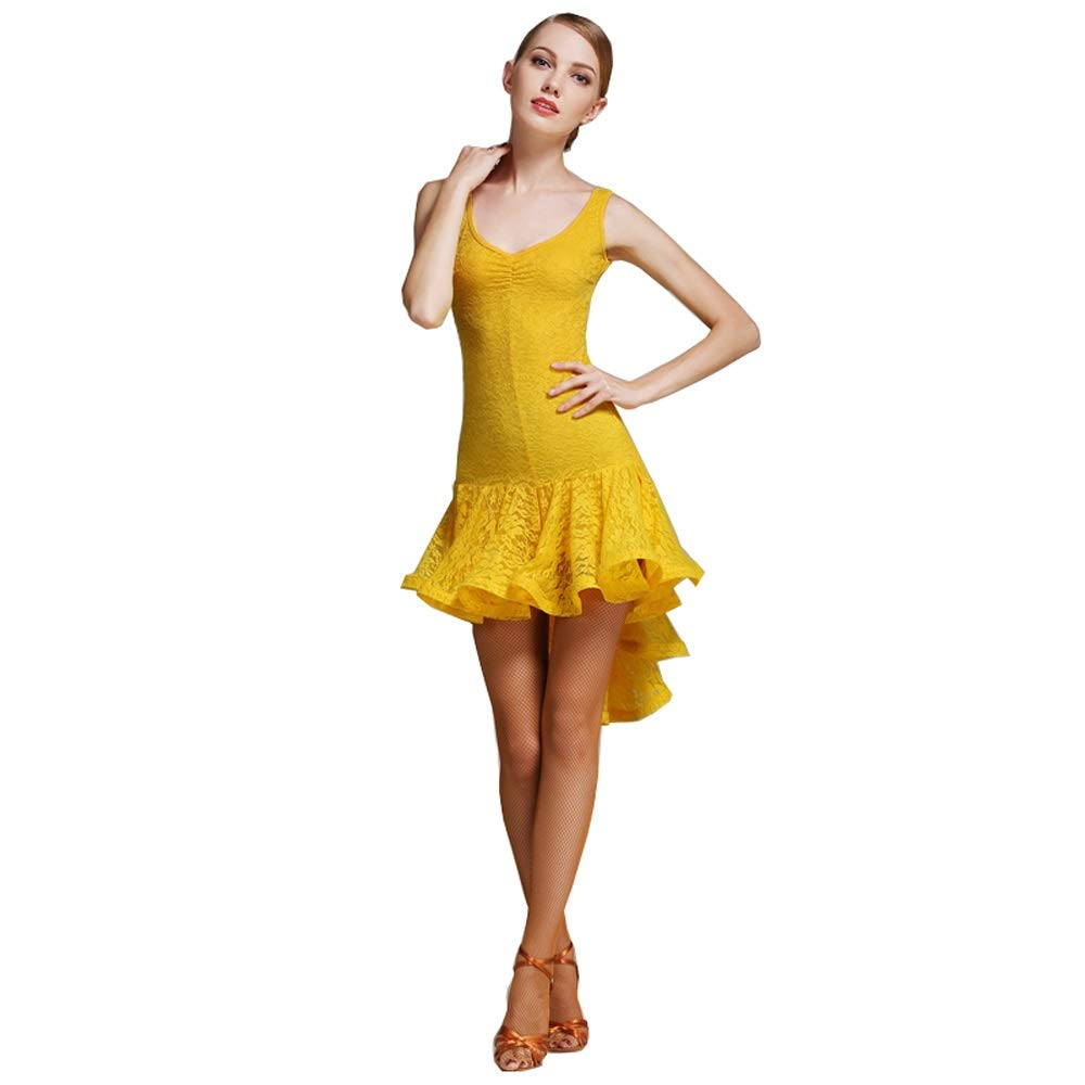 jaune X-grand GLJJQMY Costume de Danse Costume de Danse Latine sans Manches Robe de Danse Perforhommece Perforhommece Robe de Danse (Couleur   jaune, Taille   S)