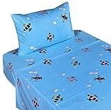 J-pinno Airplane Fly in Blue Sky Twin Sheet Set for Kids Boy Children,100% Cotton, Flat Sheet + Fitted Sheet + Pillowcase Bedding Set