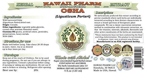 Osha Alcohol-FREE Liquid Extract, Osha (Ligusticum porteri) Dried Root Glycerite Natural Herbal Supplement, Hawaii Pharm, USA 2x4 fl.oz by HawaiiPharm (Image #1)