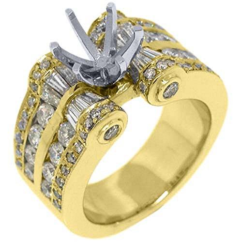 18k Yellow Gold Round & Baguette Diamond Ring Semi Mount 2.78 (Yellow Baguette Diamond Semi Mount)