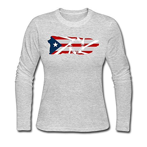 Mzmylw Puerto Rico Strong Womens Long Sleeve Tee Comfort Bottoming Shirt