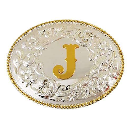 (LAXPICOL American Big Heavy Duty Letter J Leaf Belt Buckle For Men Silver Tone)