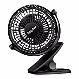 EasyAcc USB Clip Desk Fan Mini USB Personal Cooling Fan Portable Table Electronic Fan 720° Rotation for Home Office Dormitory Bedroom etc. -- Black