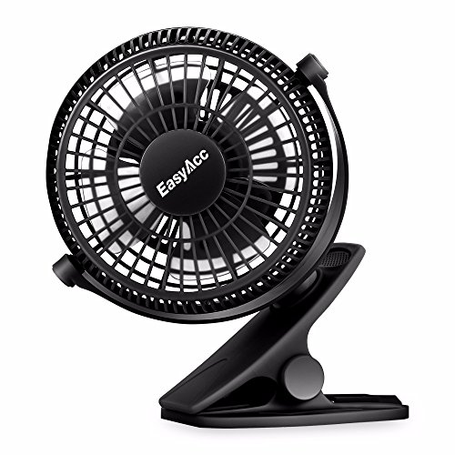 EasyAcc USB Clip on Mini Desk Fan for Baby Stroller Clip On Fan Desk Fan 2 in 1 Personal Fan Strong Wind 2 Speed 720 Rotation Portable Cooling Fan,USB POWERED ONLY,for Strollers Office Camping Outdoor