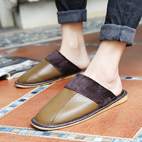 Soggiorno fankou Autunno Inverno cotone pantofole indoor uomini e donne coppie home pavimenti in legno caldo e pantofole inverno gancio ,41-42, caffè di luce