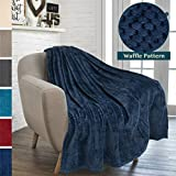 #7: PAVILIA Premium Flannel Fleece Navy Blue Plush Throw Blanket For Sofa Couch | Textured Waffle Weave Pattern Throw | Warm Cozy Microfiber | Lightweight, All Season Use | 50 x 60 Inches