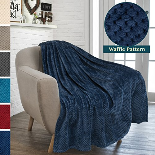 PAVILIA Premium Flannel Fleece Navy Blue Plush Throw Blanket