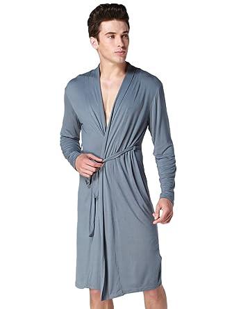 YiLianDa Albornoz para Hombre Vestido Batas Robe Albornoz Ropa de Dormir Pijama con Cinturón: Amazon.es: Ropa y accesorios