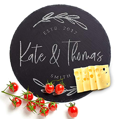 Natural Slate Personalized Cutting Board, 6 Designs, Round Slate Cheese Board, Wedding Gifts for the Couple, Housewarming Gift & Kitchen Sign - Slate Engraved