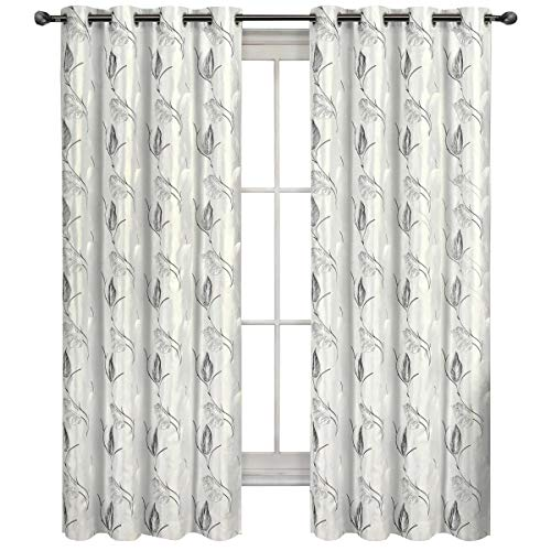 Royal Tradition Set of 2 Panels 104 Wx63 L Olivia – White – Lined and Interlined Embroidered Faux Silk Blackout Window Top Curtain Panels Made of 100 Polyester. 52-Inch by 63-Inch Each Panel
