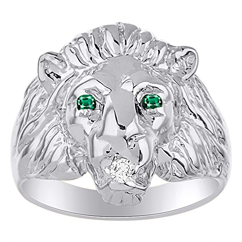 Lion Head Ring set with Genuine Diamond in mouth & Natural Emeralds in eyes White Gold Plated over Sterling Silver (Lion Head Ladies Ring)