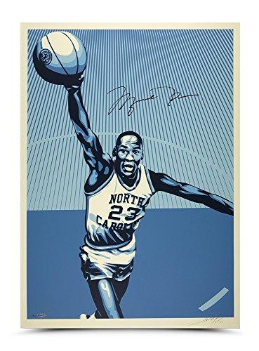 MICHAEL JORDAN SHEPARD FAIREY Dual Signed UNC Artwork 24X36 UDA LE - Jersey Basketball Jordan Unc