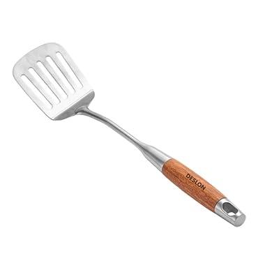 DESLON 304 Stainless Steel Turner Spatula Pear Flower Wood Grip,Kitchen Spatula Heat Resistant -16.9 Inch