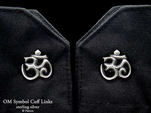 OM Symbol Cuff Links in Solid Sterling Silver Hand Carved & Cast by Paxton by Paxton Jewelry