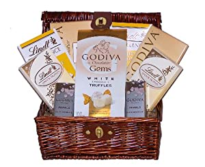 White Chocolate Galore Godiva & Lindor Holiday Gourmet Gift Basket