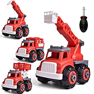 FUN LITTLE TOYS 4 in 1Take Apart Fire Truck Toys, Rescue Firetruck Set with Fire Ladder Truck, Fire Truck, High-Spraying Fire Engine Truck, Lift Truck, Kids Stem Building Toy