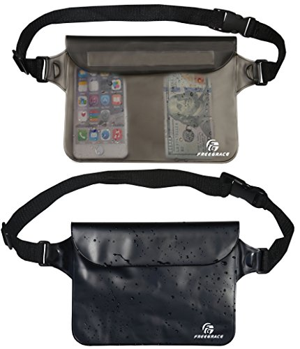 - Freegrace Waterproof Pouch Set with Waist/Shoulder Strap - Best Way to Keep Your Phone and Valuables Dry and Safe - Perfect for Boating Swimming Snorkeling Kayaking Beach Water Parks (Black & Gray)
