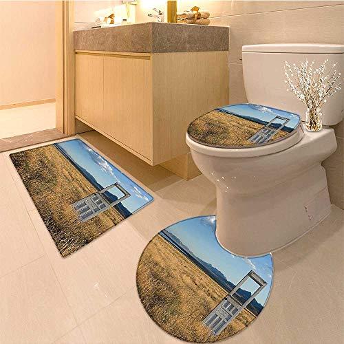 MikiDa 3 Piece Toilet mat set An Door Standing Alone in A Grassy Field With Mountains Sky 3 Piece Shower Mat -