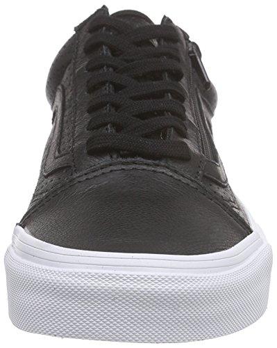 Vans Unisex-Erwachsene Old Skool Zip Low-Top Schwarz (perf Leather/black)