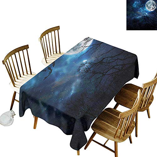 one1love Fashions Rectangular Table Cloth Halloween Bats Flying in Night Sky Resistant/Spill-Proof/Waterproof Table Cover 60