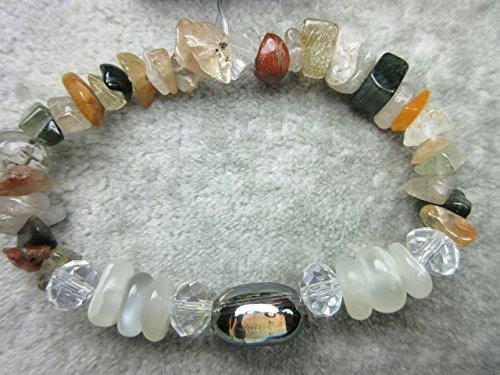Genuine Champagne Aura Quartz, White Moonstone and Rutilated Quartz Healing Bracelet - Champagne Quartz Bracelet