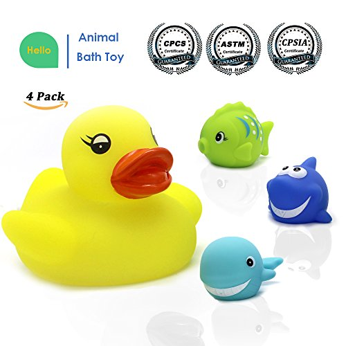 Bath Toy, 4-Pack Little Squirts Bathtime Toy, Rubber Shower Floating Toys, Bathtime Bathtub Toy For Bathroom Kid Boys Girl Toddler Child, Assorted Sea Animal Characters Duck, Fish, Shark, Dolphin (Toy Bath Tub Rubber Duck)