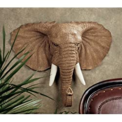 "22"" African Wildlife Elephant Wall Sculpture Trophy Statue Figurine Décor"