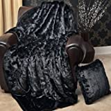 SAFARI FAUX FUR BLANKET Queen - Black Mink - FUR-800Q