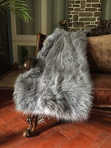 (HORIMOTE HOME Luxury Faux Fur Throw Blanket, Grey and Black High Pile Mixed Throw Blanket, Super Warm, Fuzzy, Elegant, Fluffy Decoration Blanket Scarf for Sofa, Couch and Bed,)