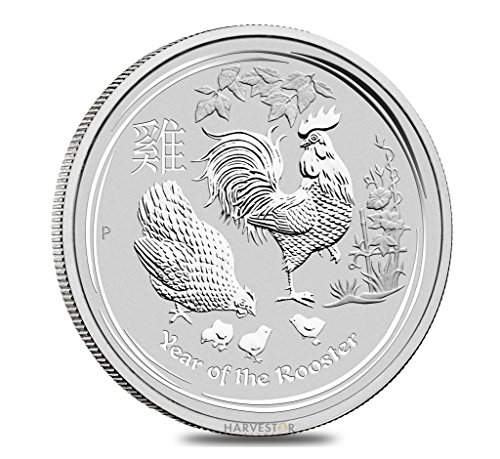 2017 AU 2017 Lunar Year of the Rooster Silver Bullion - 1 oz. Pure Silver - Perth Mint Silver Bullion $1 Brilliant (Pure Silver Proof Coin)