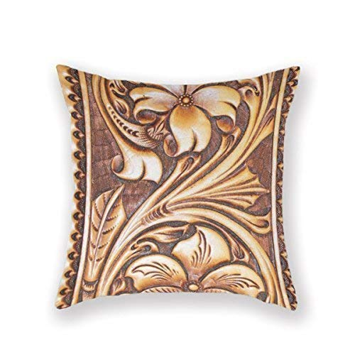 (SGBTJKU Pillow Protector Cover,Decorative Pillowcase, Fashion Home Decorative 18Inches Throw Pillowcase Wild West Carved Leather Faux Leather Western Wear Cushion Cover One Side)