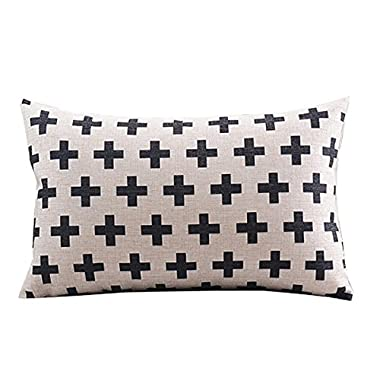 Create For-Life Cotton Linen Decorative Pillowcase Throw Pillow Cushion Cover Cross Pattern Rectangle 12  * 20  (Beige)