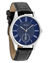 Ferenzi Men's | Classic Casual Roman Number Blue Face Silver Watch with Black PU Croc Leather Watch | FZ17402