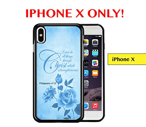 Grunge Overlays - IPHONE X - Blue Color Roses Overlay Grunge Philippians 4:13 Bible Quote Religious Scripture APPLE IPHONE X Rubber TPU Silicone Phone Case