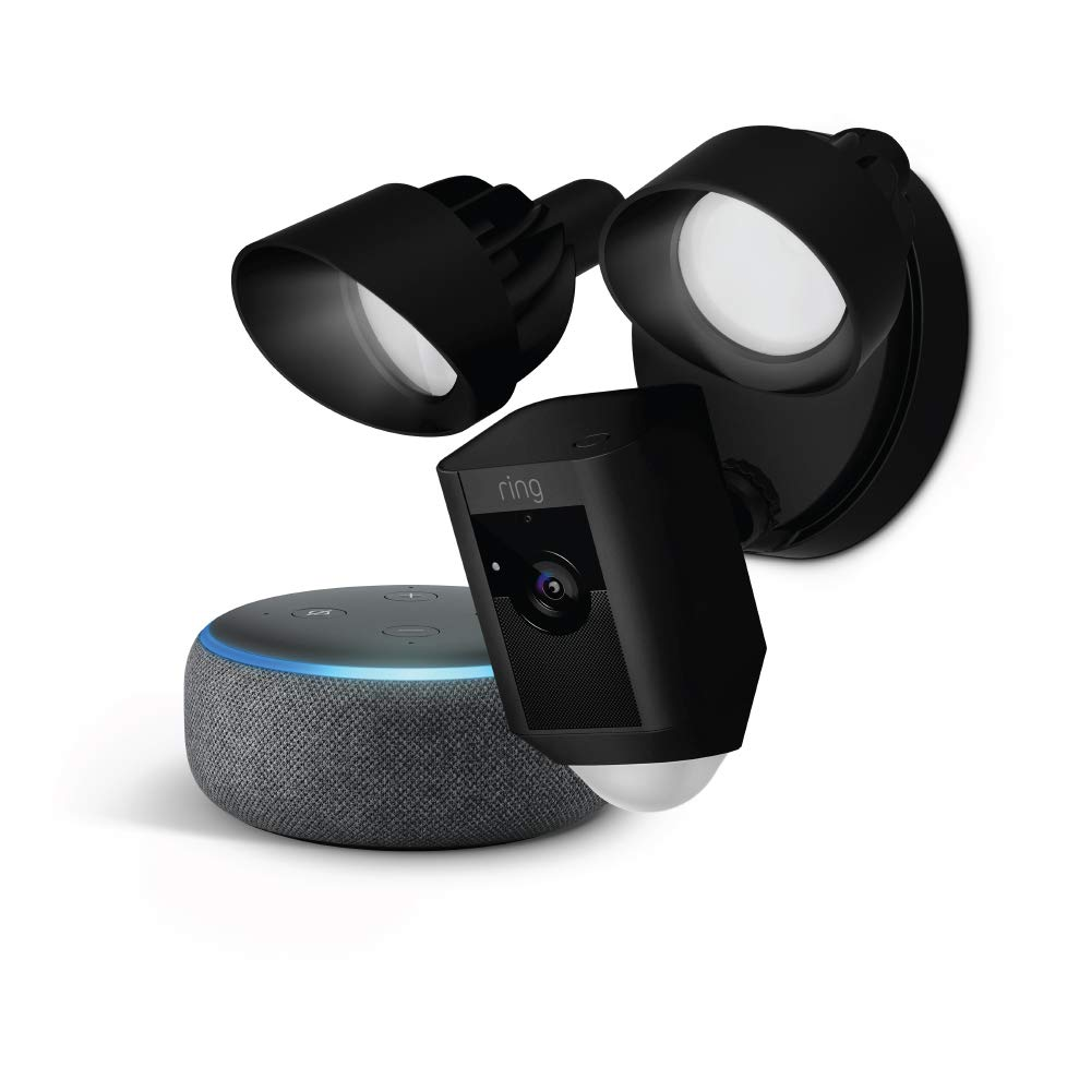Ring Floodlight Camera (Black) with Echo Dot (Charcoal)