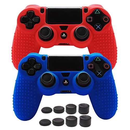 Pandaren STUDDED Anti-slip Silicone Cover Skin Set for PS4 /SLIM /PRO controller(controller skin x 2 + FPS PRO Thumb Grips x 8)(Red,Blue) - Controller Premium Silicone Skin Case