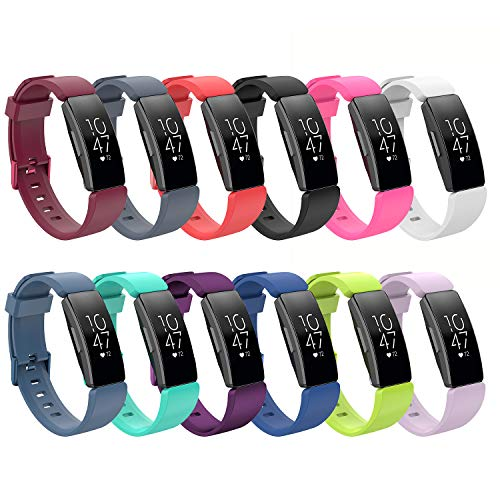 SplenSun Compatible Fitbit Inspire/Inspire HR Bands, Silicone Sport Strap Replacement for Fitbit Inspire HR Activity Tracker, Large/Small (12 Colors in a Pack, S (5.0in-7.6in))