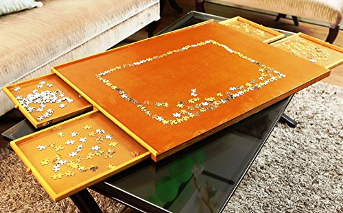 Docheer Wooden Jigsaw Puzzle Board With Four Sliding Drawers