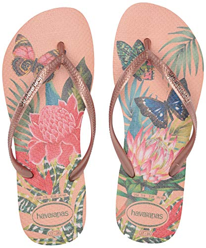 Havaianas Slim Tropical Flip Flop Sandal, Salmon Nude, (7-8 M US Women's / 6-7 M US Men's)