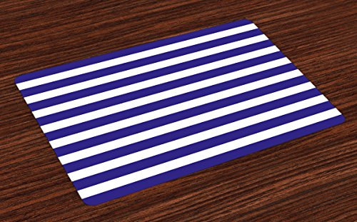 Ambesonne Striped Place Mats Set of 4, Nautical Marine Style Navy Blue and White Sailor Theme Geometric Pattern Art Print, Washable Fabric Placemats for Dining Table, Standard Size, Navy White