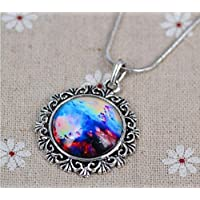 ERAWAN Fashion Women Universe Galaxy Round Glass Cabochon Necklace Pendant Jeweley Gift EW sakcharn (#7)